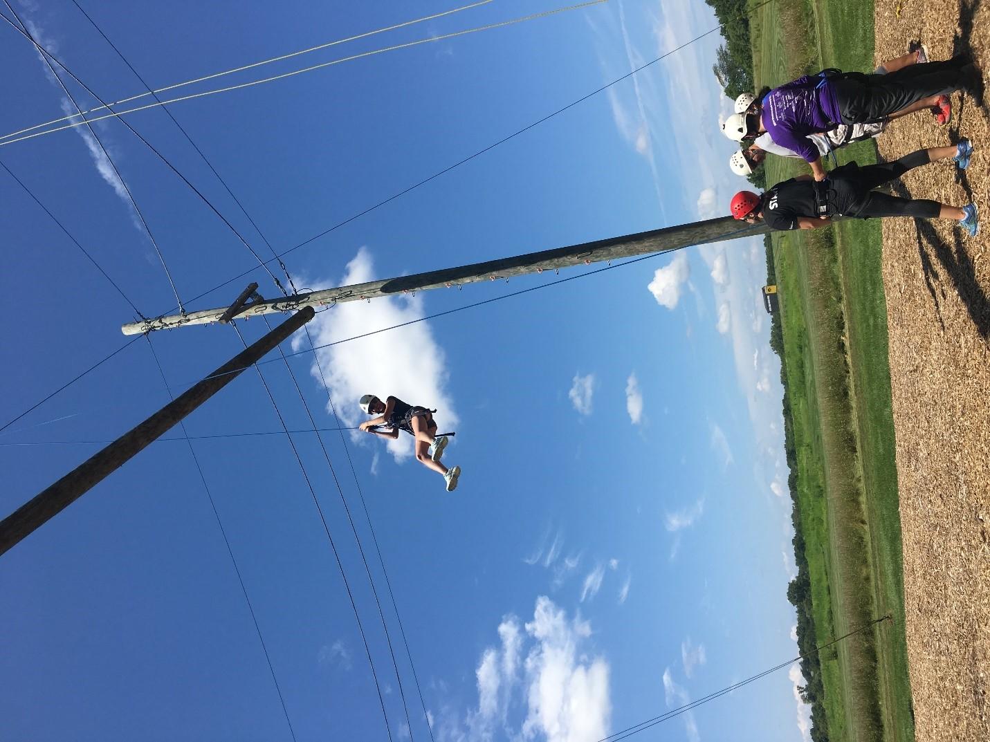 Family Medicine resident enjoys a ropes course