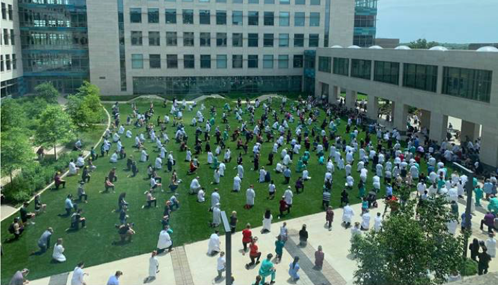 WhiteCoats4BlackLives Event on courtyard outside the Medical Education and Research Facility