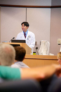 Physician giving lecture
